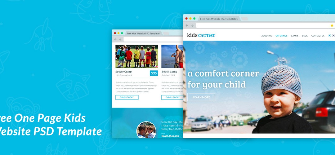 Free One Page Kids Website PSD Template