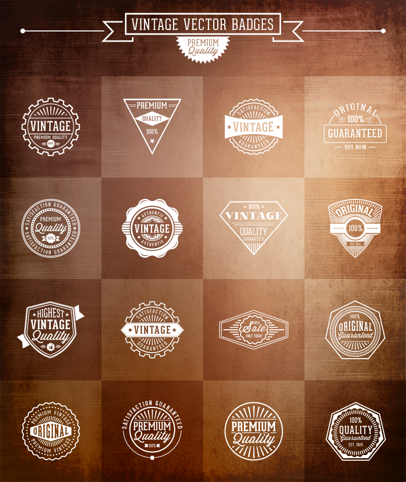 Vintage Vector Badges for FREE