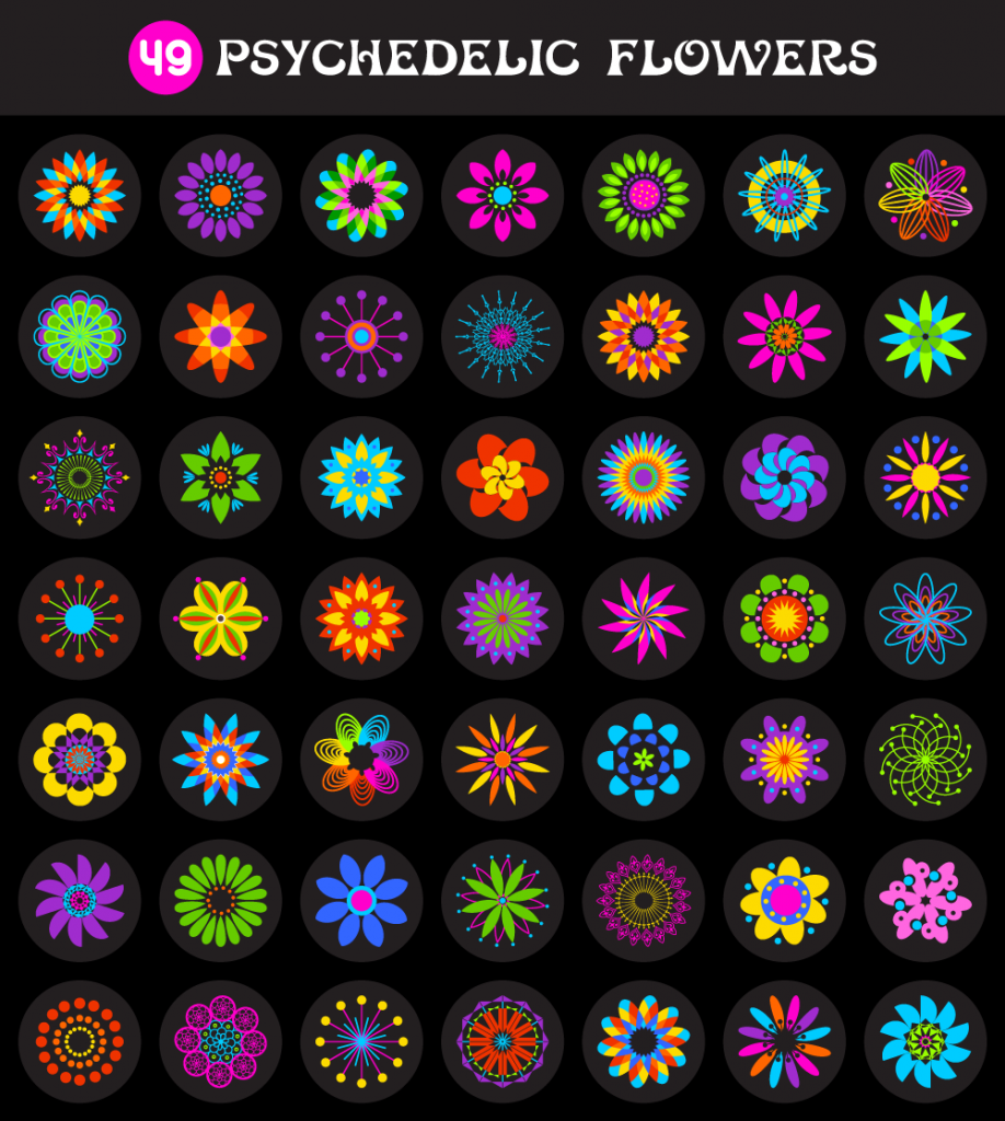 49 Psychedelic Flowers Vector Pack