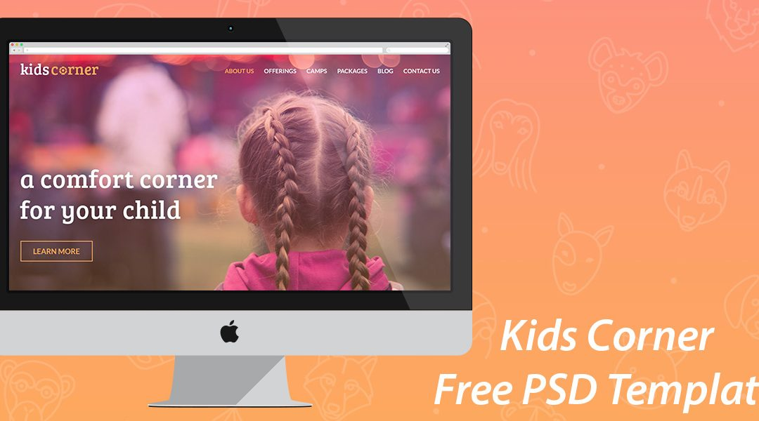 Kids Corner v2, A Free One-Page Kids Website PSD Template