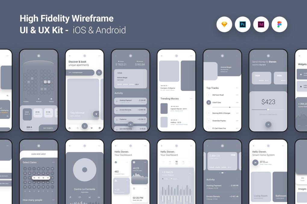 High Fidelity Wireframe UI UX Kit